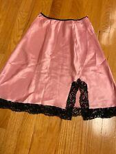 New listing Vtg Victoria Secret Pink/black Lace Satin Half Slip Size P Beautiful!
