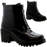 Women High Top Chelsea Ankle Boots Ladies Block Chunky Heel Zip Hiker Shoes Size