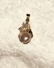 14K yellow gold diamond and natural pearl pendant-custom free form style