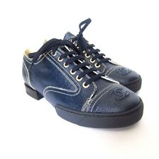S-561340 New Chanel Navy Blue Lace Up Coated Toile Flat Shoe Size US-7/Marked-37