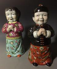 Pair of Chinese 20th C Republic Famille Rose Porcelain Figurine Buddha vase boy