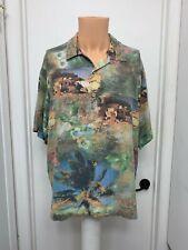 Honolulululu Paradise Mens Hawaiian button Shirt  Silk  Palms vintage  L  large