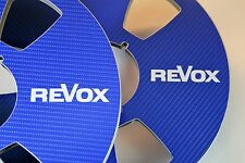 "2 X REVOX IN BLUE CARBON FIBER VYNIL LOOK  METAL REEL TO REEL 10.5"" X 1/4"""