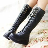 Women Flat Heel Lace Up Knee High Boots Punk Goth Platform Creeper Shoes Size CC