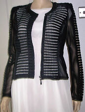 DIAMANT ANGEL Black Cut Out Faux Leather Collar Semi Fitted Jacket Size S