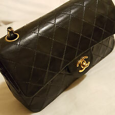 "Vintage Chanel 10"" Black Lambskin Leather Double Flap 2.55 Bag"