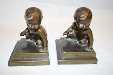 Pair of 2 Vintage 1929 BBC Louise Wilder Bronze Washed CRAWLING BABY Bookends