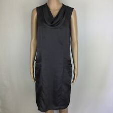 Jacqui E Grey Cowl Neck Pocket Shift Dress Grey Size 10 Lined Retro Style (BV13)