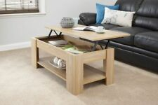 Contemporary Lift Up Coffee Table Hidden Storage Area in Oak