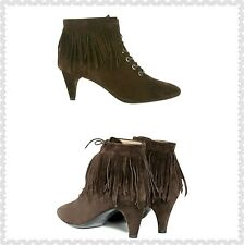 New display $580 Maje Fox Ankle Boot Fringed Suede Leather Size 36 NWOB Granny