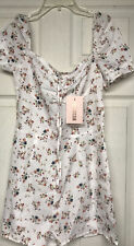 NWT Missguided White Floral Paisley Romper Shorts Playsuit Size US 6 NEW!