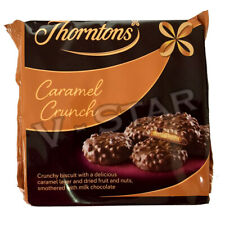 THORNTONS CARAMEL CRUNCH 140g MILK CHOCOLATE BISCUIT CARAMEL LAYER FRUIT AND NUT