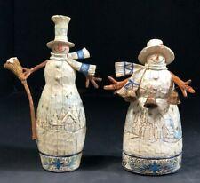 """Christmas Figures Snowmen Two Piece Set Colors White Blue Tan Detailed 9""""H Euc"""