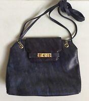 Schöne Echt Leder Handtasche Original Vintage Mittel Blau Muster Gold Top