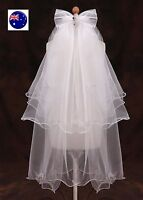 Women Lady Flower Girls White bow Lace Wedding Bride maid Comb Hair layers Veil