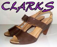 "Fabulous ""CLARKS"" Grey PATENT Leather Slingbacks Sandals Shoes UK 8  EU 42  £75"