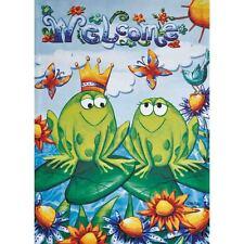 "Frog Couple 12.5"" X 18"" Garden Flag 27-2219-110 Flip It! Rain Or Shine Sping"