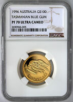 1996 $100 Gold  Proof Floral Emblems of Australia Blue Gum NGC PF70 UCAM