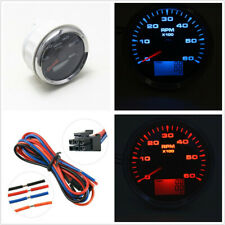 8 Color Backlight 85mm Car SUV Marine Tachometer 6000 RPM Hourmeter Universal x1
