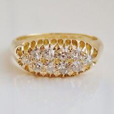 """Antico Periodo edoardiano 18 KT oro anello di diamanti DOPPIA FILA (0.50cts c1910; Uk Taglia """"L"""""""