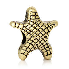 Starfish Beach Sea Life Gold Tone Spacer Charm for European Bead Bracelets