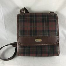 Carryland Plaid Handbag Crossbody Brown Purse Business Organizer Built-in Mirror