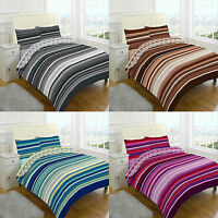 Complete or Duvet Cover Set Stripes Quilt  Pillow Case Single Double King sheet