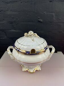 Spode Chancellor Cobalt Blue Huge Footed Soup Tureen Very Rare Perfect