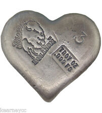 3 TROY OUNCE .999 FINE SILVER HAND POURED BISON BULLION FANCY BAR HEART