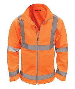 Hi Vis Hi Visibility Rail Spec Soft Shell Jacket - Hi Viz Orange - HVSS2LR