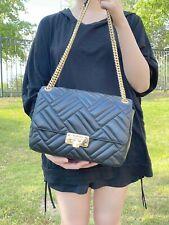 NWT Michael Kors Peyton Large Quilted Leather Shoulder Flap Bag BLACK/GOLD