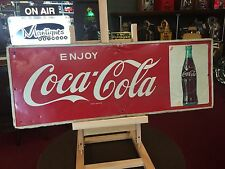 "1950's COKE Coca Cola Tin Embossed Advertising Sign  12"" x 32""    ""See Video"""