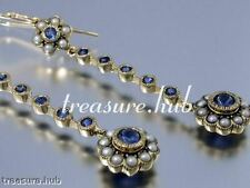 E330- ELEGANT Genuine 9ct Gold Natural Sapphire & Pearl Long Drop Earrings