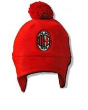 Cappellino ponpon cuffia 2/4 anni in pile rosso nero ufficiale A.C.Milan *01120