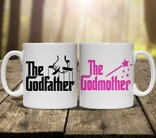 THE GODFATHER GODMOTHER PERSONALISED MUGS GIFT SET cup tea ADD ANY NAME drink