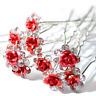 Accessoires cheveux 1 lot de 10 épingles à chignon fleurs à strass - rouge
