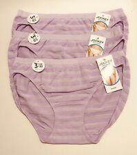 NWT 3 Jockey Matte & Shine Bikini Panties 1305 Cotton Plum Purple Size 7