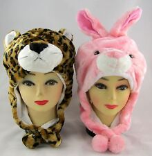 TWO Fluffy Animal Beanies LEOPARD & BUNNY Costume Hats Caps One Size Fits Most