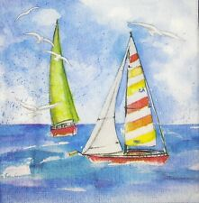 3 x Single Paper Napkins For Decoupage Blue Water Sea Sailing Ships M507