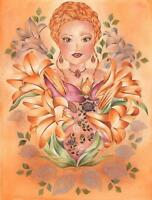 VICTORIAN FAIRY BOTANICAL CAMEO GARDEN FLOWERS ORANGE LILIES BOTANICAL PAINTING