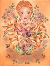 VICTORIAN FAIRY BOTANICAL CAMEO GARDEN FLOWERS ORANGE LILIES BOTANICAL PAINTING
