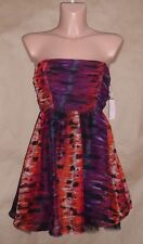 Romeo & Juliet Couture Juniors Size M Red Black Strapless Chiffon Dress
