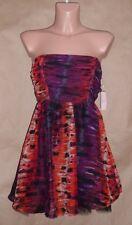 Romeo & Juliet Couture Juniors Size M Red Black Strapless Chiffon Dress
