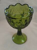 """Vintage Green Glass Footed Candy Dish Scalloped Top Thick Green Glass8 3/4"""" Tall"""