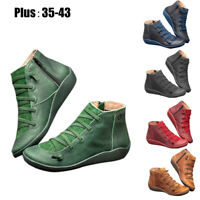 Vintage Women's Arch Support Boots Casual Zipper Ankle Leather Flat Heel Shoes