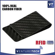 REAL CARBON FIBER MONEY CLIP Matte Black RFID Credit Card Holder Cash Wallet