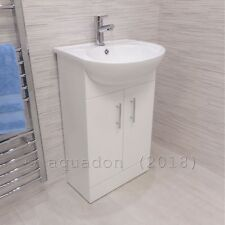 500mm Bathroom Cloakroom Slimline Vanity Unit Compact Sink Basin Storage