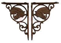 2 Western Horse Head Cast Iron Brackets Rustic Brown Finish Antique Style Brace
