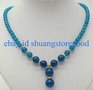 Natural 6-8-10mm Round Ink Blue Apatite Gemstone +12mm Beads Pendant Necklace 18
