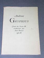 G.L.M Poésie Andreas Gryphius Guy Lévis Mano 1947 1/446 exemplaires
